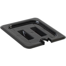 Sixth Size Slotted Cover for Polycarbonate Food Pan in Black