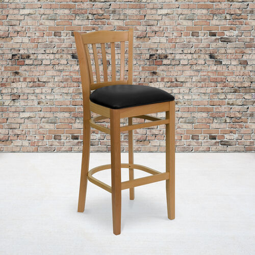 Natural Wood Finished Vertical Slat Back Wooden Restaurant Barstool with Black Vinyl Seat
