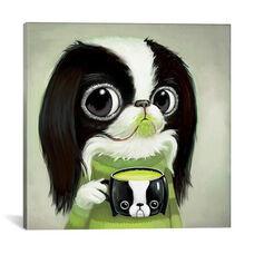 Japanese Chins Sips Matcha Latte by Melanie Schultz Gallery Wrapped Canvas Artwork