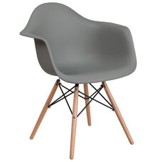 Alonza Series Moss Gray Plastic Chair with Wood Base