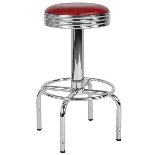 Retro Diner Barstool with Chrome Base in Red Vinyl
