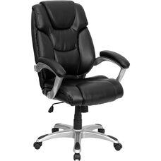 High Back Black Leather Layered Upholstered Executive Swivel Ergonomic Office Chair with Silver Nylon Base and Arms