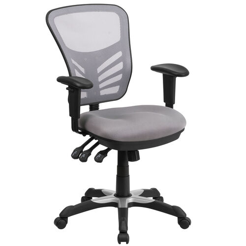 Our Mid-Back Gray Mesh Multifunction Executive Swivel Chair with Adjustable Arms is on sale now.