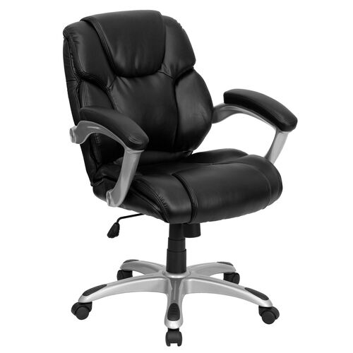 Our Mid-Back Black LeatherSoft Layered Upholstered Executive Swivel Ergonomic Office Chair with Silver Nylon Base and Arms is on sale now.