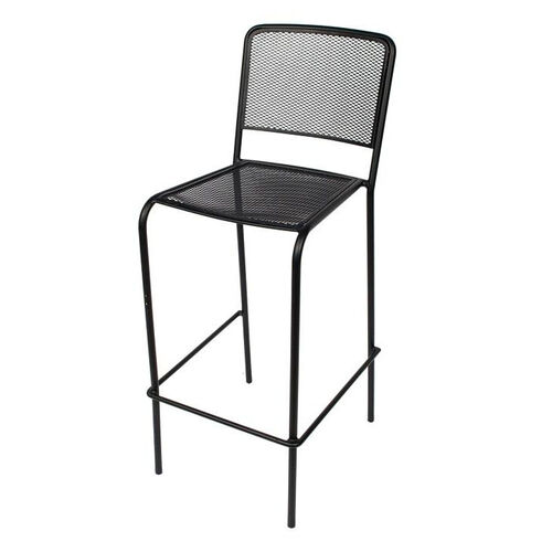 Chesapeake Black Stackable Outdoor Micro Mesh Barstool