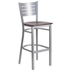 Silver Slat Back Metal Restaurant Barstool with Walnut Wood Seat