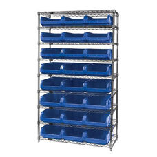 Wire Shelving Unit with 24 Magnum Bins - Blue