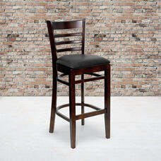 Walnut Finished Ladder Back Wooden Restaurant Barstool with Black Vinyl Seat