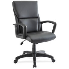 Lorell Euro Design Mid-Back Executive Armchair - Black Leather