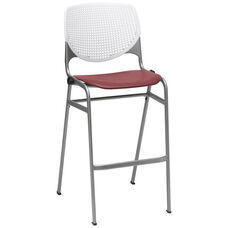 2300 KOOL Series Stacking Poly Armless Barstool with White Perforated Back and Burgundy Seat