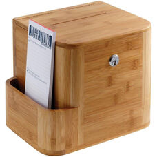 Bamboo Suggestion Box with Acrylic Display and Side Compartment - Natural