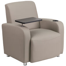 Gray Leather Guest Chair With Tablet Arm Chrome Legs And Cup Holder