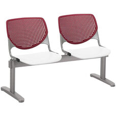 2300 KOOL Series Beam Seating with 2 Poly Burgundy Perforated Back Seats and White Seats
