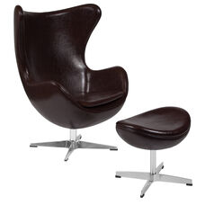 Brown Leather Egg Chair with Tilt-Lock Mechanism and Ottoman