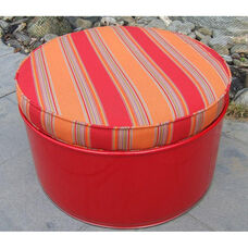 Salsa Steel Drum Ottoman with Multicolor Accents
