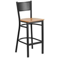 Black Grid Back Metal Restaurant Barstool with Natural Wood Seat