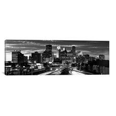 Minneapolis Panoramic Skyline Cityscape (Black & White - Evening) by Unknown Artist Gallery Wrapped Canvas Artwork
