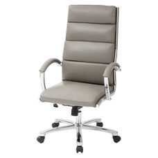 Work Smart High Back Executive Faux Leather Chair with Polished Chrome Finish and Padded Arms - Smoke