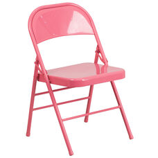 HERCULES COLORBURST Series Bubblegum Pink Triple Braced & Double-Hinged Metal Folding Chair