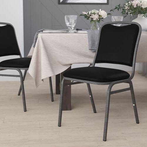 HERCULES Series Stacking Banquet Chair in Black Vinyl - Silver Vein Frame