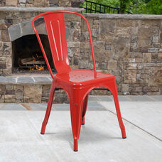 Commercial Grade Red Metal Indoor-Outdoor Stackable Chair
