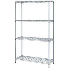 4-Shelf Adjustable Wire Shelving Unit with Chrome Finish - 300 lb. Load Capacity per Shelf